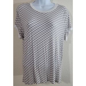 Justify Tan White Checkered Women's Top Large